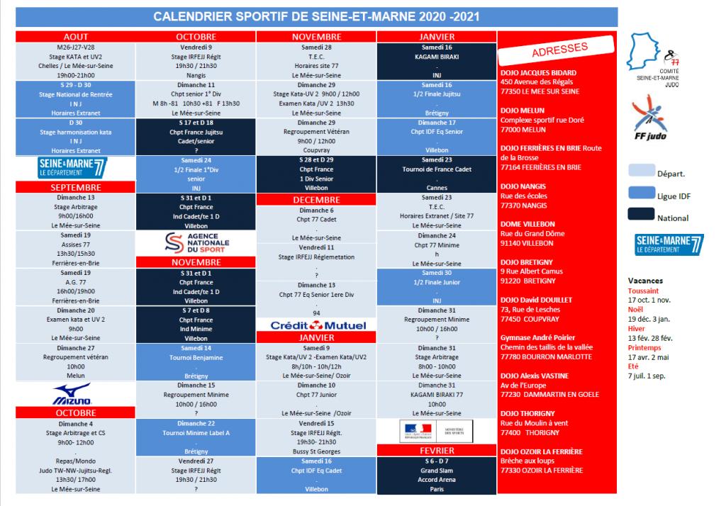 Calendrier Judo 2021 CALENDRIER 2020 2021 – Comité de Seine et Marne de Judo